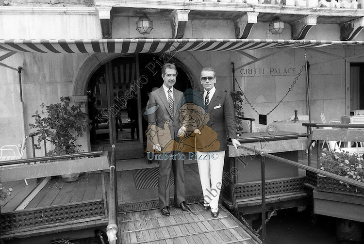 KARL LAGERFELD E NICO PASSANTE<br /> HOTEL GRITTI VENEZIA 1983