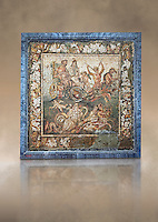 Roman mosaic of a mythical procession, Pompeii, Naples Archaeological Musum, Italy