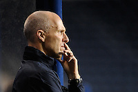 United States (USA) head coach Bob Bradley. The men's national teams of the United States (USA) and Colombia (COL) played to a 0-0 tie during an international friendly at PPL Park in Chester, PA, on October 12, 2010.
