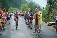 Lars Bak (DEN/Lotto-Soudal) having fun with the fans<br /> <br /> stage 14: Rodez - Mende (178km)<br /> 2015 Tour de France