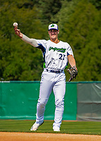 3 September 2018: Vermont Lake Monsters first baseman Aaron Arruda warms up prior to a game against the Tri-City ValleyCats at Centennial Field in Burlington, Vermont. The Lake Monsters defeated the ValleyCats 9-6 in the last game of the 2018 NY Penn League regular season. Mandatory Credit: Ed Wolfstein Photo *** RAW (NEF) Image File Available ***
