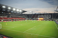 WASHINGTON, DC - AUGUST 25: Teams playing the match without fans during a game between New England Revolution and D.C. United at Audi Field on August 25, 2020 in Washington, DC.