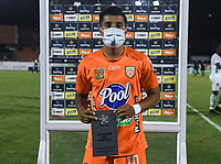 ENVIGADO - COLOMBIA, 31–03-2021: Yeison Guzman de Envigado F. C. es el jugador del partido entre Envigado F. C. y Patriotas Boyaca F. C. de la fecha 16 por la Liga BetPlay DIMAYOR I 2021, en el estadio Polideportivo Sur de la ciudad de Envigado. / Yeison Guzman of Envigado F. C. is the player of the match between Envigado F. C. and Patriotas Boyaca F. C. of 16th date for the BetPlay DIMAYOR I 2021 League at the Polideportivo Sur stadium in Envigado city. Photo: VizzorImage / Luis Benavides / Cont.