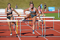 Amy Robertson wins the elite women's 100m hurdles. 2021 Capital Classic athletics at Newtown Park in Wellington, New Zealand on Saturday, 20 February 2021. Photo: Dave Lintott / lintottphoto.co.nz