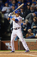 Chicago Cubs Addison Russell (27) bats in the eighth inning during Game 3 of the Major League Baseball World Series against the Cleveland Indians on October 28, 2016 at Wrigley Field in Chicago, Illinois.  (Mike Janes/Four Seam Images)