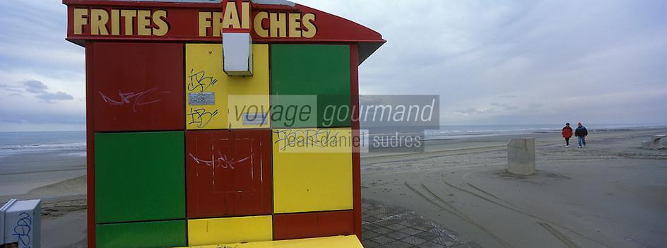 Europe/France/Nord-Pas-de-Calais/59/Nord/Dunkerque/Leffrinckoucke : Friterie sur la plage