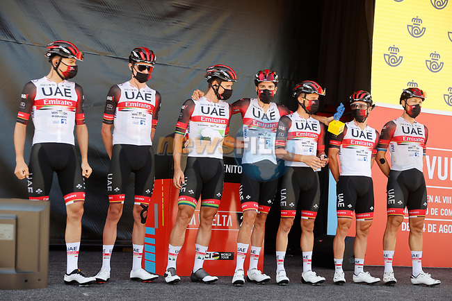 UAE Team Emirates best team from yesterday's stage at sign on before the start of Stage 14 of La Vuelta d'Espana 2021, running 165.7km from Don Benito to Pico Villuercas, Spain. 28th August 2021.     <br /> Picture: Luis Angel Gomez/Photogomezsport | Cyclefile<br /> <br /> All photos usage must carry mandatory copyright credit (© Cyclefile | Luis Angel Gomez/Photogomezsport)