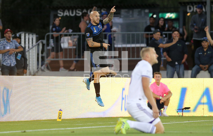 SAN JOSE, CA - AUGUST 31: Magnus Eriksson of the San Jose Earthquakes scores and celebrates during a Major League Soccer (MLS) match between the San Jose Earthquakes and the Orlando City SC  on August 31, 2019 at Avaya Stadium in San Jose, California.