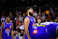 Tohi Smith-Milner of the Wellington Saints looks on during the round one NBL match between the Wellington Saints and the Canterbury Rams at TSB Bank Arena, Wellington, New Zealand on Friday 30 April 2021.<br /> Photo by Masanori Udagawa. <br /> www.photowellington.photoshelter.com
