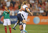 Rachel Buehler (19) of the USWNT celebrates her score with teammate Abby Wambach (20)  The USWNT defeated Mexico 7-0 during an international friendly, at RFK Stadium, Tuesday September 3 , 2013.