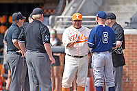 Tennessee Volunteers head coach Dave Serrano (18) UC Irvine Anteaters associate head coach Ben Orloff (6) umpires Jeremy Parker, Justin McCulley, Travis Rose, and Darrell Arnold before game on of a double header at Lindsey Nelson Stadium on March 12, 2016 in Knoxville, Tennessee. The Volunteers defeated the Anteaters 14-4. (Tony Farlow/Four Seam Images)