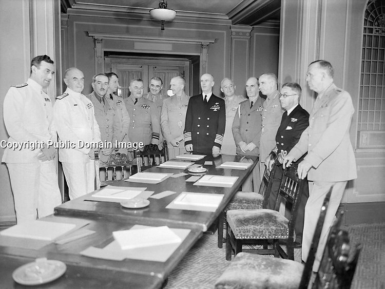 Admiral of the Fleet Earl Mountbatten of Burma Chief of Combined Operations: Mountbatten with Combined Chiefs of Staff at the Quebec Conference of 1943. Left to right (at Chateau Frontenac): Lord Louis Mountbatten, Admiral of the Fleet Sir Dudley Pound, General Sir Alan Brooke, Air Chief Marshal Sir Charles Portal, Air Marshal L S Breadner, Field Marshal Sir John Dill, Lieutenant General Sir Hastings Ismay, Admiral E J King, General H H Arnold, Admiral W D Leahy, Lieutenant General K Stuart, Vice Admiral P W Nelles and General G C Marshal.
