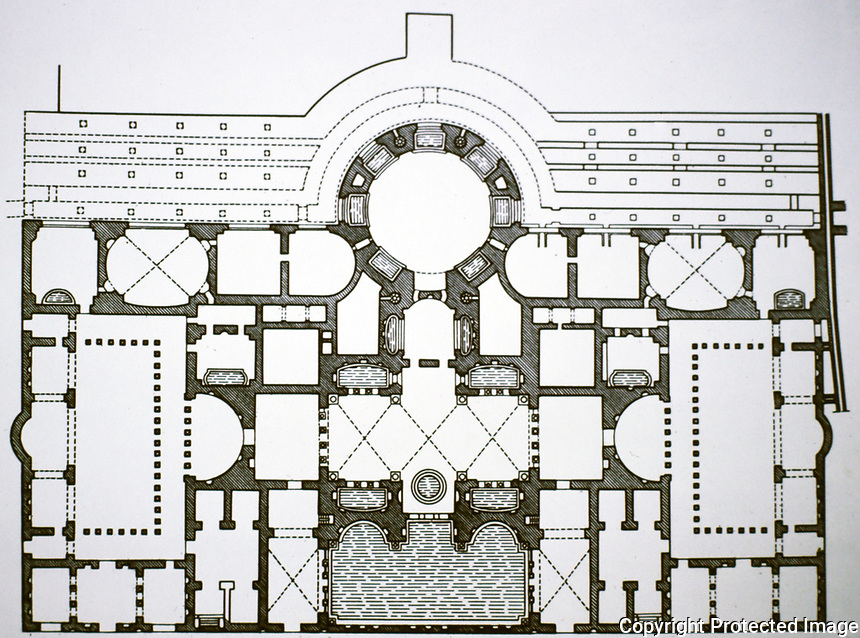Floor plan of the Baths of Caracalla, Rome Italy, 118 - 125 CE