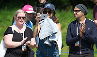 Natasha Shishmanian films her husband Chris Evans (not pictured) during the BMW PGA PRO-AM GOLF at Wentworth Drive, Virginia Water, England on 23 May 2018. Photo by Andy Rowland.