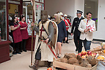 St Georges Day 23rd April 2019, Dartford Kent, parade through shopping centre off the high street, Councillor David Mote and Lady Mayoress Ellen Mote with town hall dignitaries. 2010s