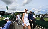 6th July 2021, Wimbledon, SW London, England; 2021 Wimbledon Championships  day 8;  Plishkova makes her way to court