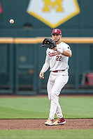 Florida State Seminoles third baseman Drew Mendoza (22) in action against the Michigan Wolverines in Game 6 of the NCAA College World Series on June 17, 2019 at TD Ameritrade Park in Omaha, Nebraska. Michigan defeated Florida State 2-0. (Andrew Woolley/Four Seam Images)