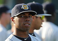Infielder Angelo Gumbs (21) of the Charleston RiverDogs, a New York Yankees affiliate, before a game against the Greenville Drive on May 31, 2012, at Fluor Field at the West End in Greenville, South Carolina. Charleston won, 13-2. Gumbs is the Yankees' No. 14 prospect, according to Baseball America. (Tom Priddy/Four Seam Images).