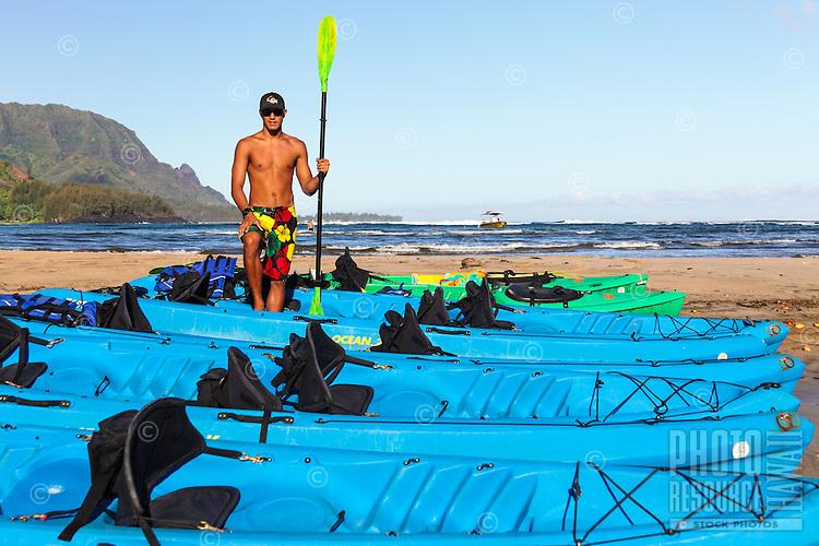 A kayak guide at Hanalei Beach on Kaua'i.