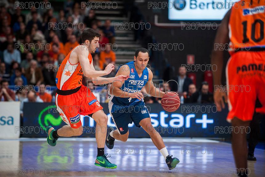 VALENCIA, SPAIN - NOVEMBER 22: Guillem Vives, Lawrence during Endesa League match between Valencia Basket Club and Retabet.es GBC at Fonteta Stadium on November 22, 2015 in Valencia, Spain
