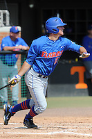 Florida Gators third baseman Cody Dent #20 swings at a pitch during a game against the Tennessee Volunteers at Lindsey Nelson Stadium, Knoxville, Tennessee April 14, 2012. The Volunteers won the game 5-4  (Tony Farlow/Four Seam Images)..