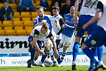 St Johnstone v Inverness Caley Thistle.....27.04.13      SPL.Charles Taylor blockes Rowan Vine.Picture by Graeme Hart..Copyright Perthshire Picture Agency.Tel: 01738 623350  Mobile: 07990 594431