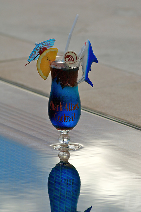 """""""THE SHARK COCKTAIL"""" SPECIAL TROPICAL DRINK AT THE POOL SIDE, PALAU, MICRONESIA"""