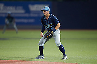 Wilmington Blue Rocks second baseman J.T. Arruda (6) on defense against the Hudson Valley Renegades at Dutchess Stadium on July 27, 2021 in Wappingers Falls, New York. (Brian Westerholt/Four Seam Images)