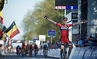 Ben Hermans (BEL/BMC) just stays ahead of a sprinting elite group and wins the 55th Brabantse Pijl 2015