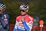 Dutch Champion Mathieu Van Der Poel (NED) Alpecin Fenix waits for the start of the 73rd edition of Kuurne-Brussel-Kuurne 2021 running 197km from Kuurne to Kuurne, Belgium. 28th February 2021  <br /> Picture: Serge Waldbillig | Cyclefile<br /> <br /> All photos usage must carry mandatory copyright credit (© Cyclefile | Serge Waldbillig)