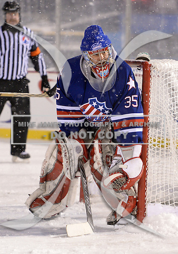 Goalie Tom Askey (35) during The Frozen Frontier Buffalo Sabres vs. Rochester Amerks Alumni Game at Frontier Field on December 15, 2013 in Rochester, New York.  (Copyright Mike Janes Photography)
