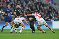 Maro Itoje of England is tackled by Masakatsu Nishikawa of Japan during the Quilter International match between England and Japan at Twickenham Stadium on Saturday 17th November 2018 (Photo by Rob Munro/Stewart Communications)