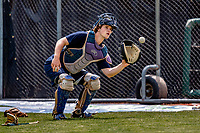 29 May 2021: Vermont Lake Monsters catcher Tyler Favretto, from Mont Royal, Quebec, Canada, warms up prior to facing the Norwich Sea Unicorns at Centennial Field in Burlington, Vermont. The Lake Monsters defeated the Sea Unicorns 6-3 in their FCBL Home Opener, the first home game played at Centennial Field post-Covid-19 pandemic. Mandatory Credit: Ed Wolfstein Photo *** RAW (NEF) Image File Available ***