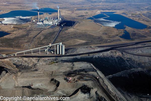 aerial photograph Westmoreland Coal Company Kemmerer Mine with Naughton Power Plant, Kemmerer, Wyoming