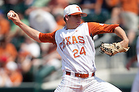Texas Longhorns pitcher Parker French #24 delivers during the NCAA baseball game against the Texas A&M Aggies on April 28, 2012 at UFCU Disch-Falk Field in Austin, Texas. The Aggies beat the Longhorns 12-4. (Andrew Woolley / Four Seam Images)..