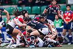 Saki Minami of Japan (l) competes against Hong Kong during the Womens Rugby World Cup 2017 Qualifier match between Hong Kong and Japan on December 17, 2016 in Hong Kong, Hong Kong. Photo by Marcio Rodrigo Machado / Power Sport Images