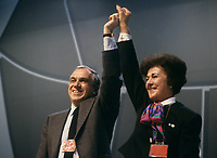Montreal (Qc) Canada  file Photo -  march 1987 - NDP national convention in Montreal -- Ed Broadbent, New Democratic Party  (NPD) Leader  (L) and Shirley Carr<br /> <br /> <br /> PHOTO :  Agence Quebec Presse