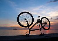 Bikes along Manila Bay at sunset, Philippines