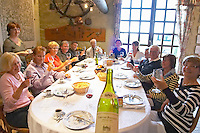 Visitors lunching. Clos des Langres, Domaine d'Ardhuy, Corgoloin, Cote de Nuits, d'Or, Burgundy, France