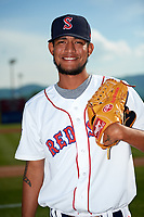 Salem Red Sox pitcher Roniel Raudes (17) poses for a photo before a game against the Lynchburg Hillcats on May 10, 2018 at Haley Toyota Field in Salem, Virginia.  Lynchburg defeated Salem 11-5.  (Mike Janes/Four Seam Images)