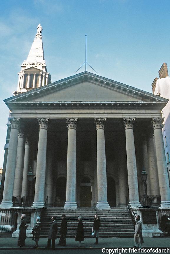 Nicholas Hawksmoor: St. George, Bloomsbury 1716-31. Bloomsbury Way. Photo '90.
