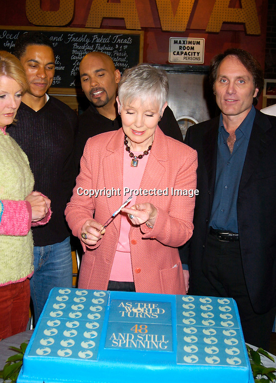 DJ Lockhart-Johnson, Real Andrews and Kathryn Hays abd Chris Goutman ..at the As The World Turns 48th Anniversary party on the set on April 2,  2004. Photo by Robin Platzer, Twin Images