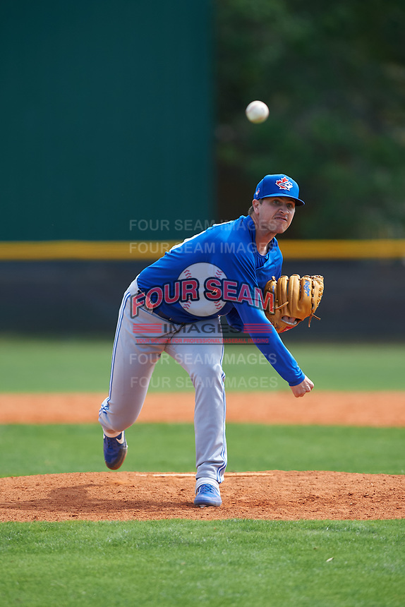 Toronto Blue Jays pitcher Andrew Sopko (71) during an exhibition game against the Canada Junior National Team on March 8, 2020 at Baseball City in St. Petersburg, Florida.  (Mike Janes/Four Seam Images)