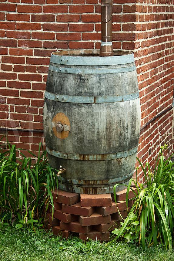 Rain water conservation barrel.