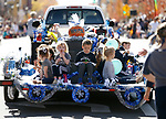 Dancers with the Western Nevada College Performing Arts group march in the Nevada Day parade in Carson City, Nev., on Saturday, Oct. 26, 2019.  <br /> Photo by Cathleen Allison/Nevada Momentum