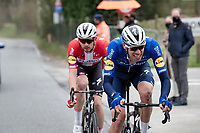 Tim Declercq (BEL/Deceuninck - Quick Step) bringing back eventual race winner Kasper Asgreen (DEN/Deceuninck - Quick Step) to the front after they both were involved in a crash with about 100km to go<br /> <br /> 105th Ronde van Vlaanderen 2021 (MEN1.UWT)<br /> <br /> 1 day race from Antwerp to Oudenaarde (BEL/264km) <br /> <br /> ©kramon