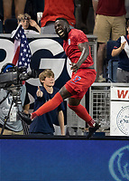 KANSAS CITY, KS - JUNE 26: Jozy Altidore #17 celebrates his goal during a game between Panama and USMNT at Children's Mercy Park on June 26, 2019 in Kansas City, Kansas.