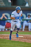 Zac Ching (25) of the Ogden Raptors hustles to first base against the Grand Junction Rockies at Lindquist Field on August 28, 2019 in Ogden, Utah. The Rockies defeated the Raptors 8-5. (Stephen Smith/Four Seam Images)