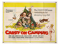 BNPS.co.uk (01202 558833)<br /> Pic: Ewbank's/BNPS<br /> <br /> Pictured: Carry On Camping (1969) poster sold for £270. <br /> <br /> A saucy collection of more than 20 vintage film posters from the 'Carry On' films have sold for almost £10,000.<br /> <br /> The 30ins by 40ins British quad posters were used on cinema billboards to advertise the comedy movies from the 1960s and '70s.<br /> <br /> The colourful posters depict comedy actors like Sid James, Kenneth Williams and Barbara Windsor who regularly starred in the comedy caper franchise.