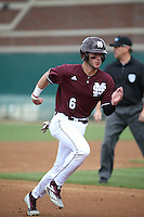 Luke Alexander (6) of the Mississippi State Bulldogs runs the bases during a game against the Southern California Trojans at Dedeaux Field on March 5, 2016 in Los Angeles, California. Mississippi State defeated Southern California , 8-7. (Larry Goren/Four Seam Images)
